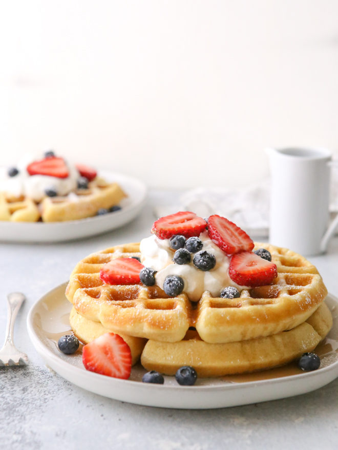 Trial and error has finally lead me here, to the best buttermilk waffle recipe— golden brown and crispy on the outside, but soft and cakey on the inside, all thanks to a secret ingredient you already have in your pantry.