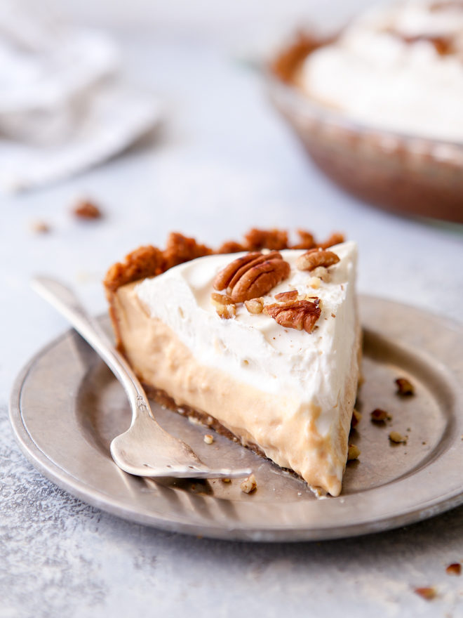 Creamy caramel pudding pie with gingersnap and pecan crust - so decadent and stunning!
