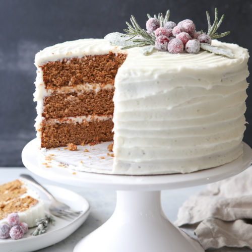 This gingerbread layer cake with cream cheese buttercream is perfect for the holidays!