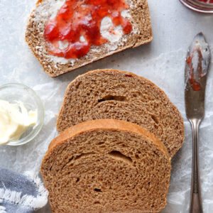 This simple and hearty loaf of bread is made with 100% whole wheat flour.