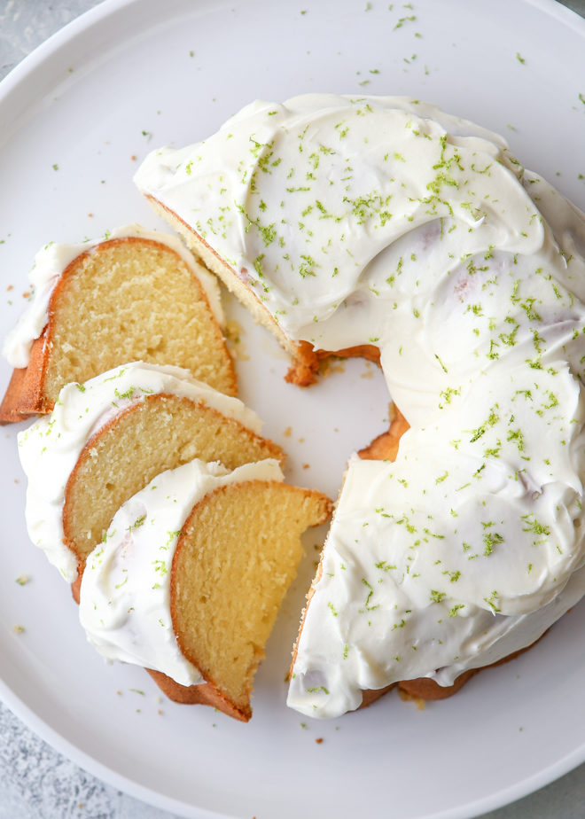 This lime bundt cake is light and zesty with a rich cream cheese frosting.