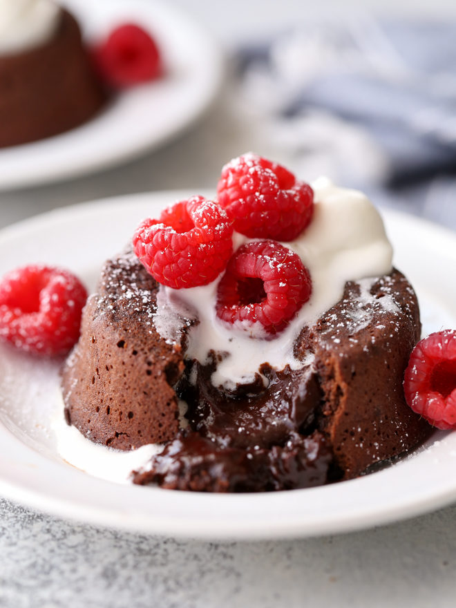 These individual chocolate cakes have a rich and gooey chocolate center!