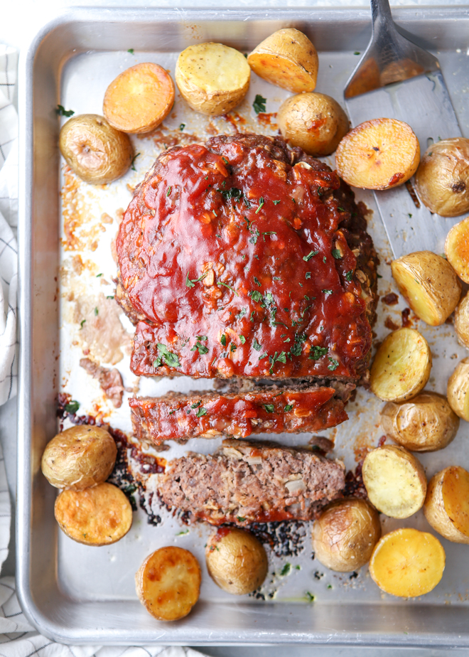 Meatloaf And Potatoes Sheet Pan Dinner Completely Delicious