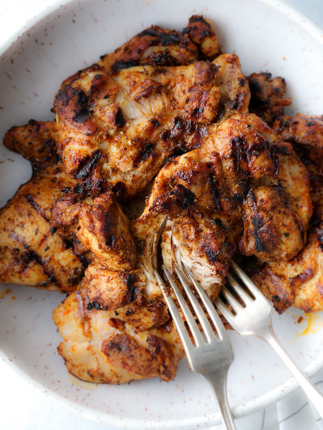 Spiced and grilled chicken thighs to be shredded for the easiest Mexican street tacos