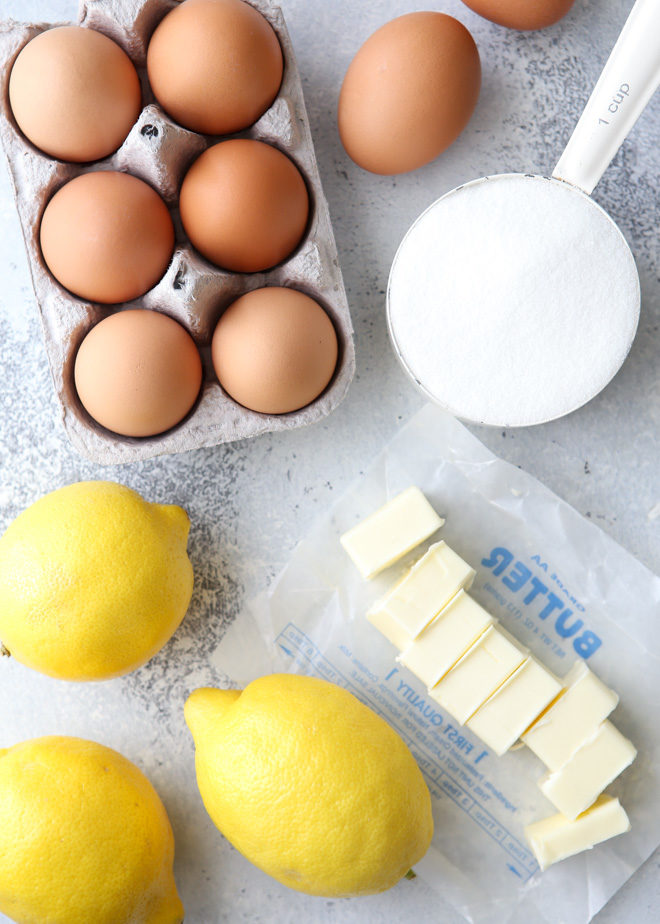 All of the ingredients you'll need to make homemade lemon curd at home