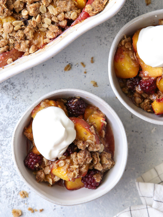 Brown butter is the secret ingredient in this flavorful summer peach and blackberry crisp!