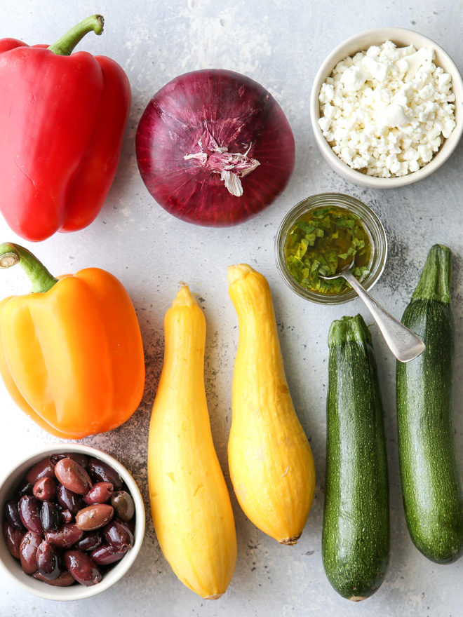 All the ingredients you need for a fresh and flavorful veggie antipasto platter