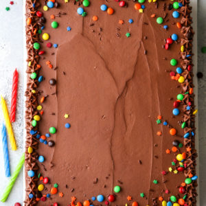 This one-bowl chocolate sheet cake with easy fudge frosting is for all of you chocolate lovers!