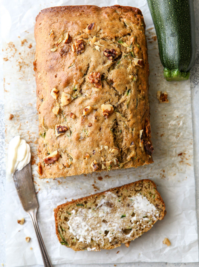 Two favorite quick bread recipes combine into this moist and flavorful banana zucchini walnut bread!