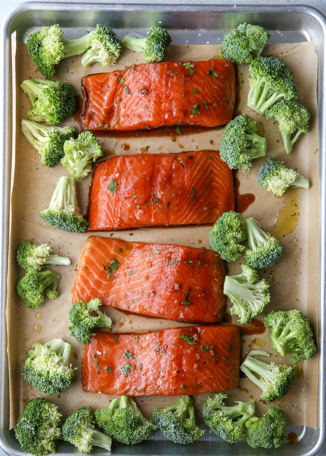 Salmon and broccoli about to hit the oven!