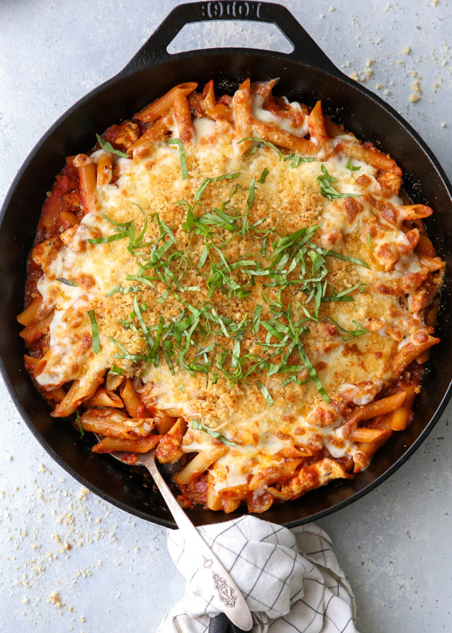 This chicken parmesan pasta skillet has all the flavors of the classic favorite in an easy one-pot meal!