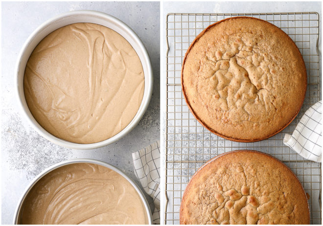 Brown sugar and cinnamon cake layers before and after