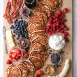 """This """"build your own"""" pancake board with all the toppings is the perfect for breakfast, brunch, and even brinner!"""