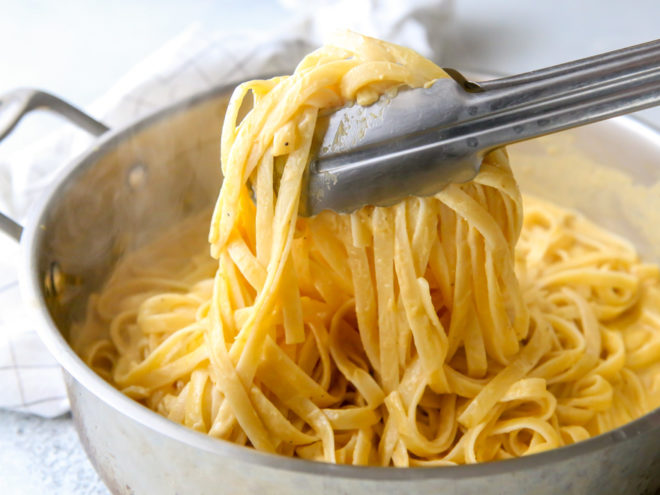This rich and creamy pumpkin alfredo pasta is made with canned pumpkin puree and a dash of nutmeg.