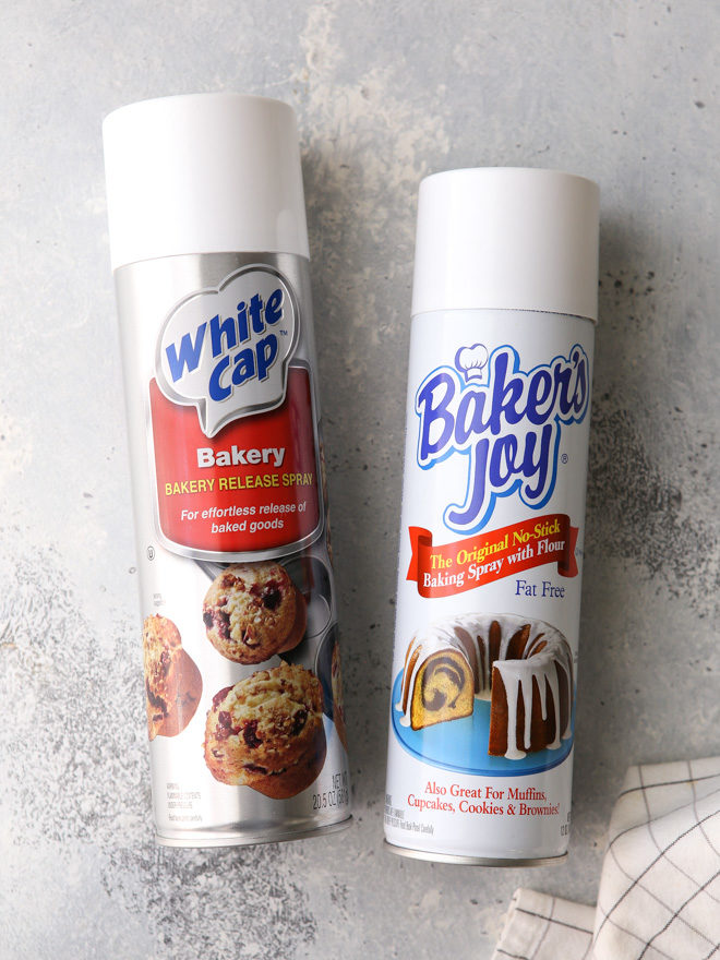 Nonstick baking spray will prevent cake from sticking to the pan