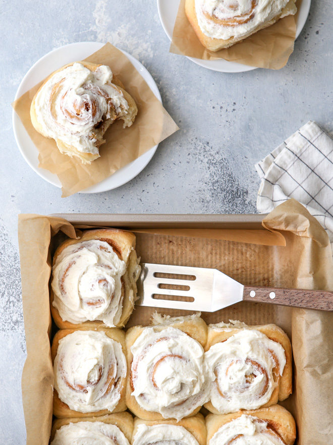 These incredibly delicious no-knead cinnamon rolls with vanilla frosting may be the easiest you'll ever bake!