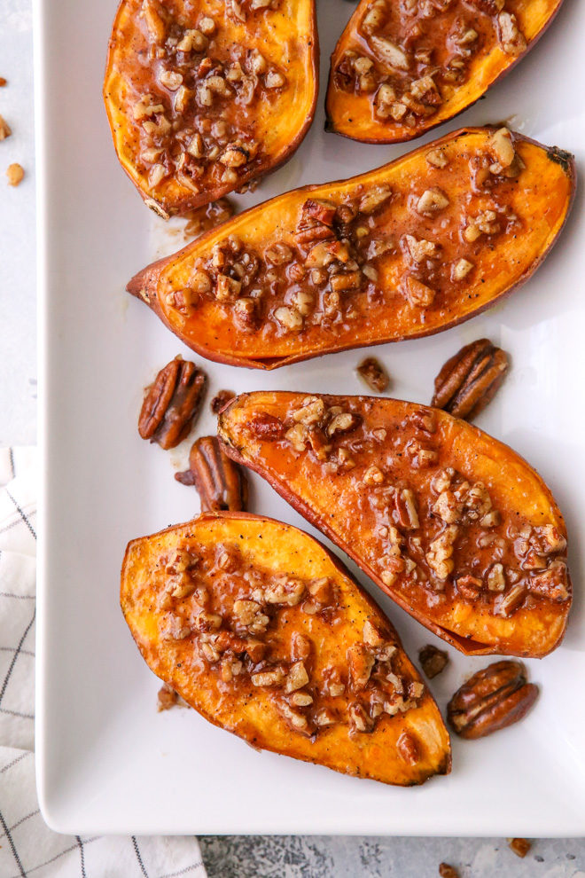 These roasted sweet potatoes with maple pecan sauce are the ultimate sweet and savory side dish!