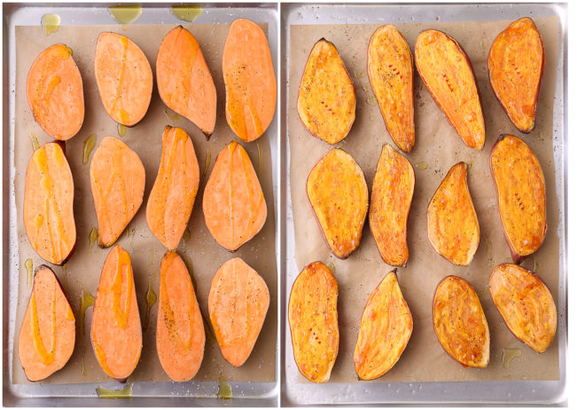 Roasted sweet potatoes, before and after