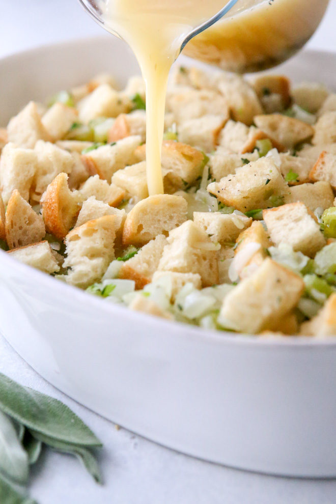 Broth gives this stuffing so much flavor