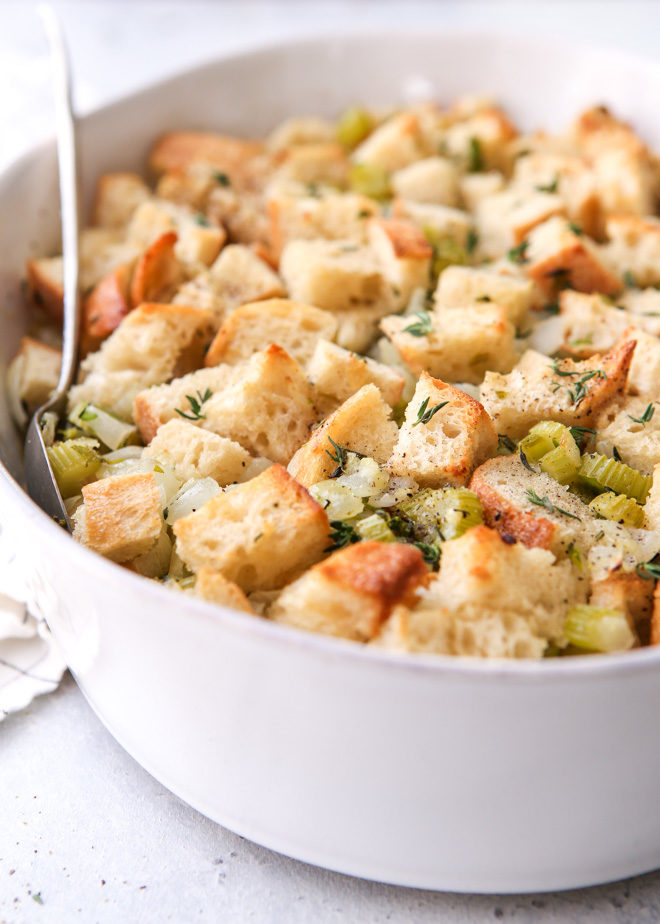 This easy classic stuffing recipe is made with simple ingredients and only a few minutes of prep work.