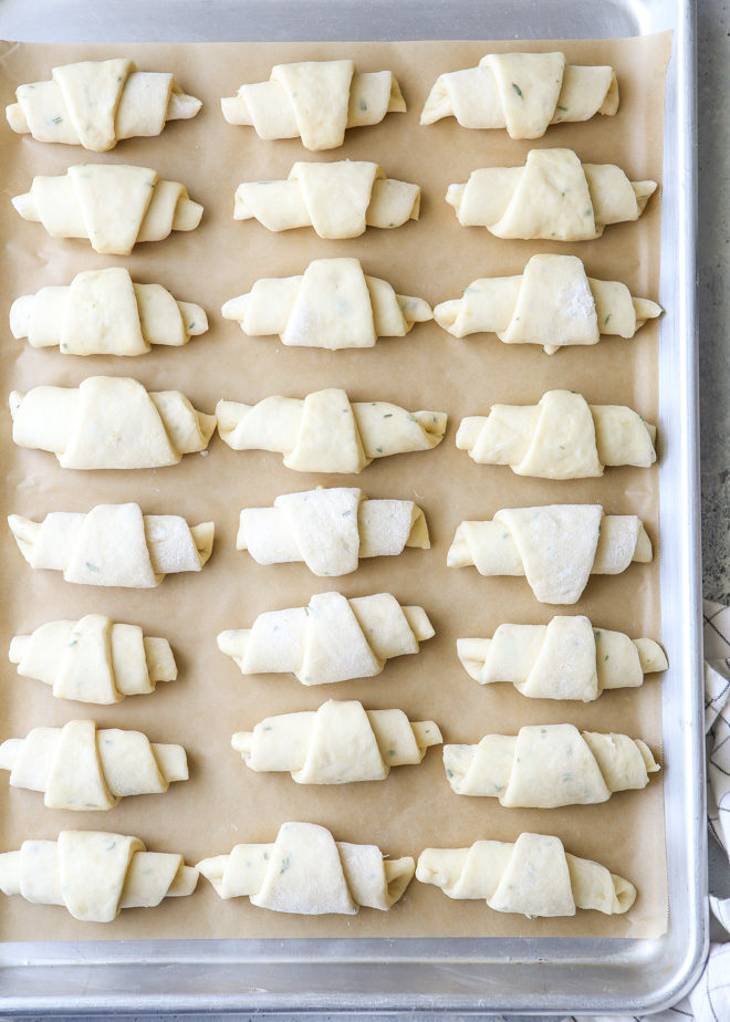 Garlic and herb crescent rolls ready for the oven