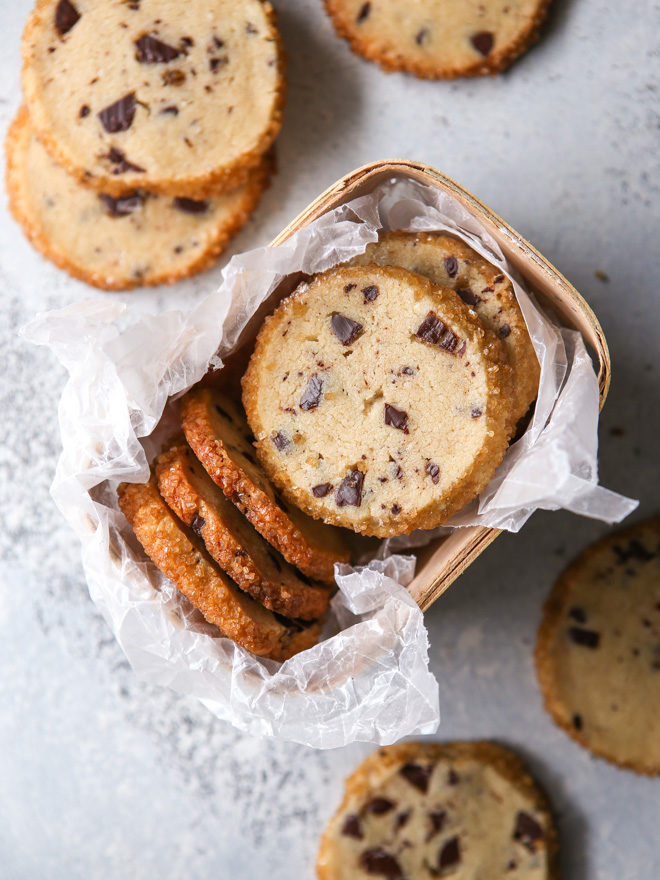 Chocolate chip cookie shortbread goes great with hot cocoa