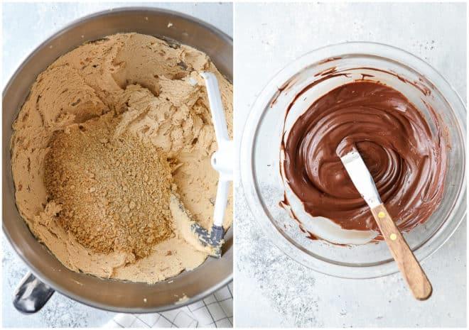 Making no-bake chocolate peanut butter bars