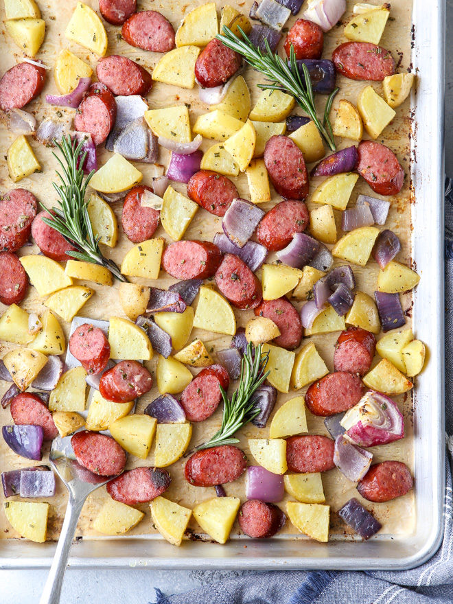 This sheet pan sausage and potatoes is a simple one-pan meal that's done in 30 minutes!