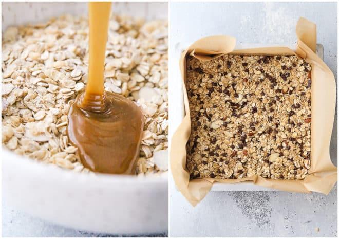 making chewy chocolate chip granola bars