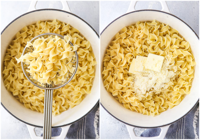 Making simple buttered noodles