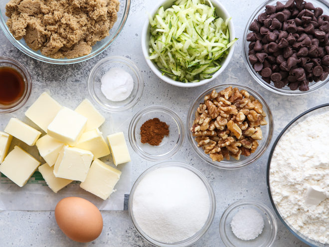 zucchini chocolate chip cookie ingredients