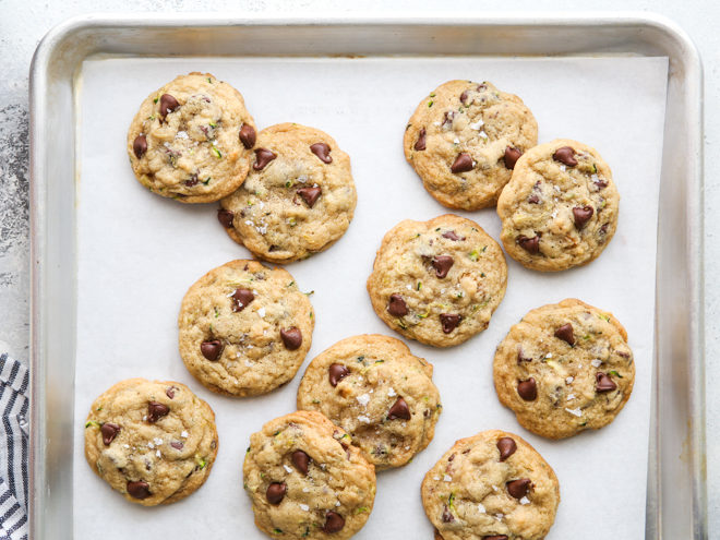 zucchini chocolate chip cookies after baking
