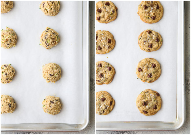 cookie dough before and cookies after