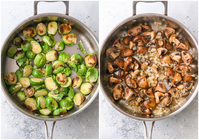 sautéed mushrooms and brussels sprouts