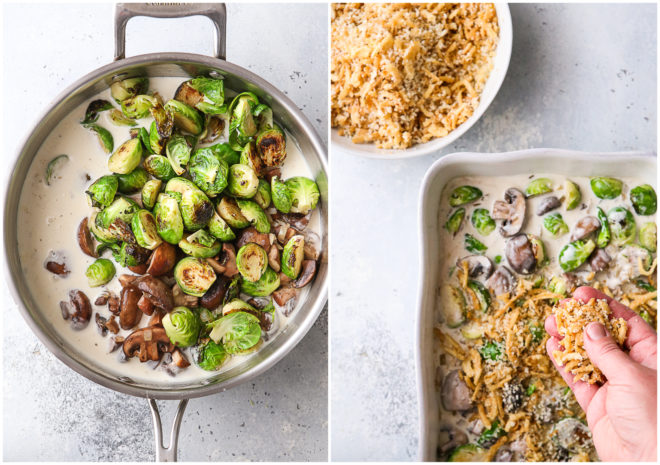mushrooms and brussels sprouts in white sauce and adding topping in baking dish
