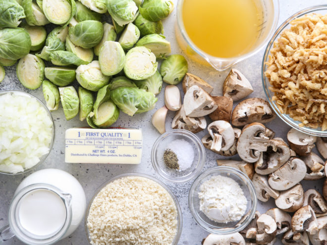 ingredients for brussels sprout and mushroom casserole