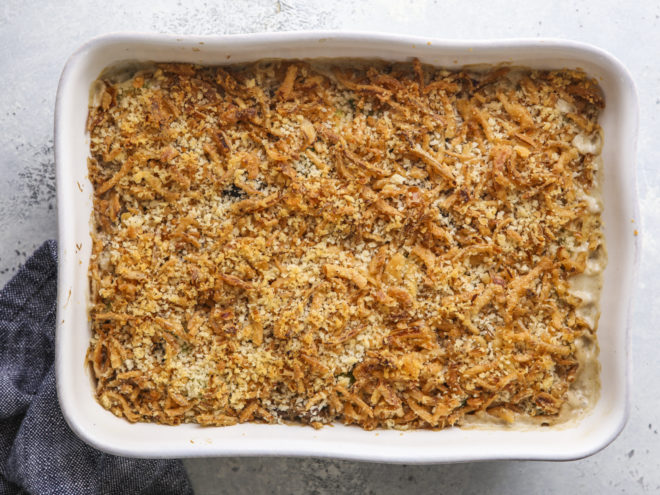 brussels sprout and mushroom casserole out of the oven