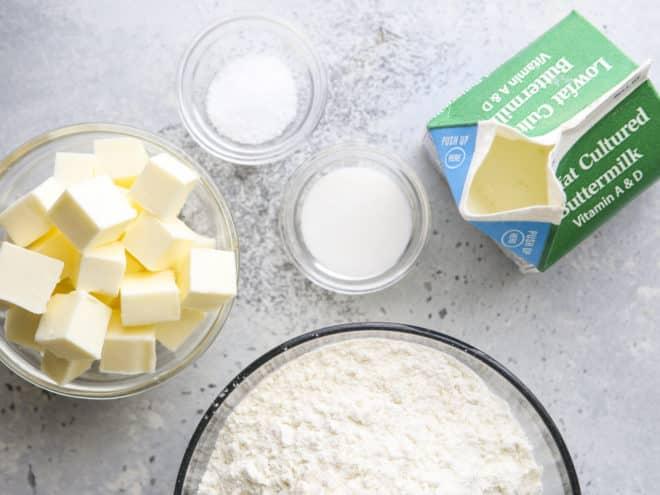 ingredients for making buttermilk pie crust