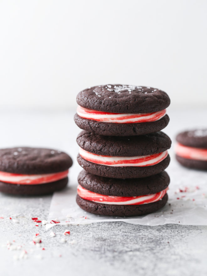 chocolate candy cane sugar cookies in a stack