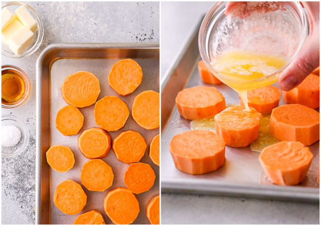 sweet potato rounds ready for baking, pouring butter over the top
