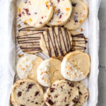 4 shortbread cookie variations on 1 tray