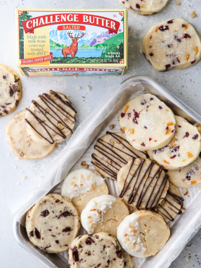 4 shortbread cookie variations on 1 tray, with Challenge butter box