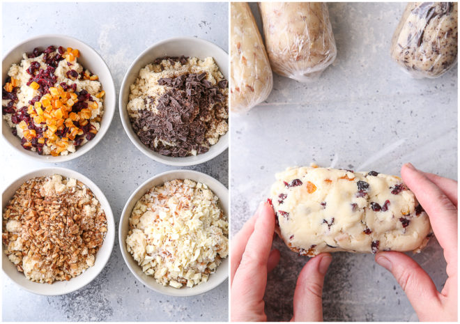 combining shortbread dough with different mixins in bowls, and forming into logs