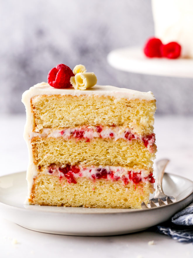 a slice of raspberry white chocolate cake