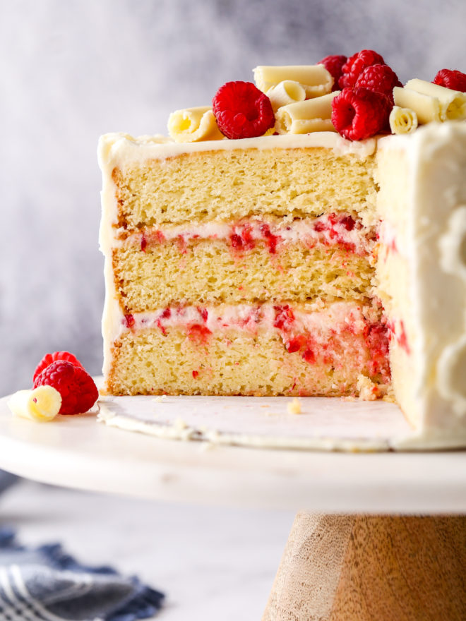 raspberry white chocolate cake sliced into