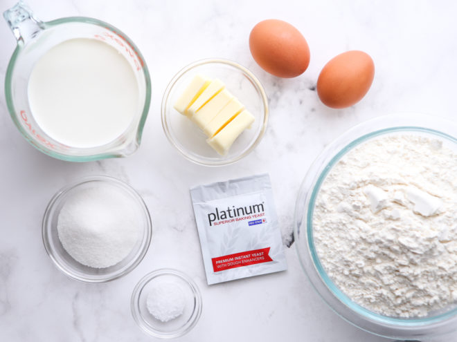 ingredients for yeast-raised doughnuts