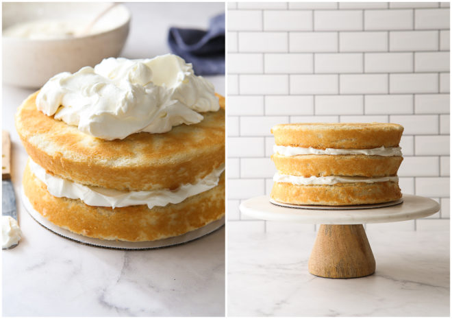 assembling cake layers with coconut filling