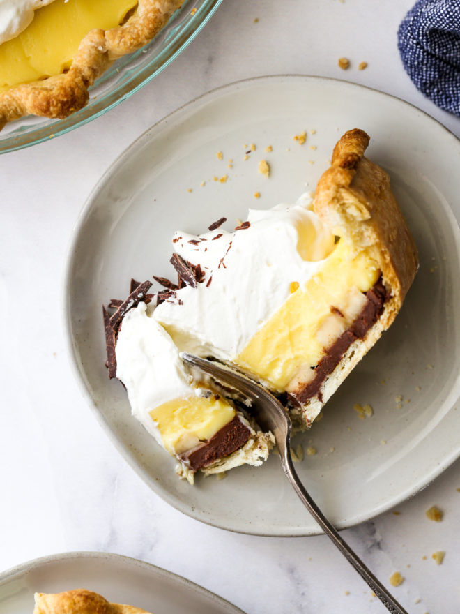 slice of chocolate banana cream pie with fork