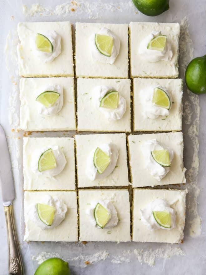 sliced lime cheesecake bars